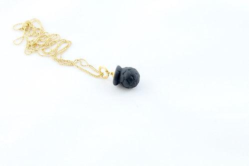 Queens Gold, black Bud pendant