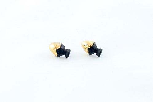 Queens Gold, black gold earrings