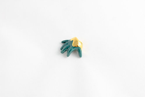 Dark Green & Gold Baby Hand Pendant