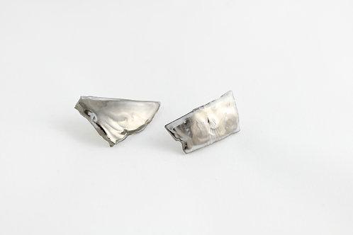 "Platinum earrings N°9- ""Broken collection"""