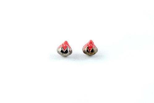 Queens Silver, Queens silver, red and platinum earrings