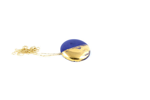 La Traviata Pendant with brooch blue and gold
