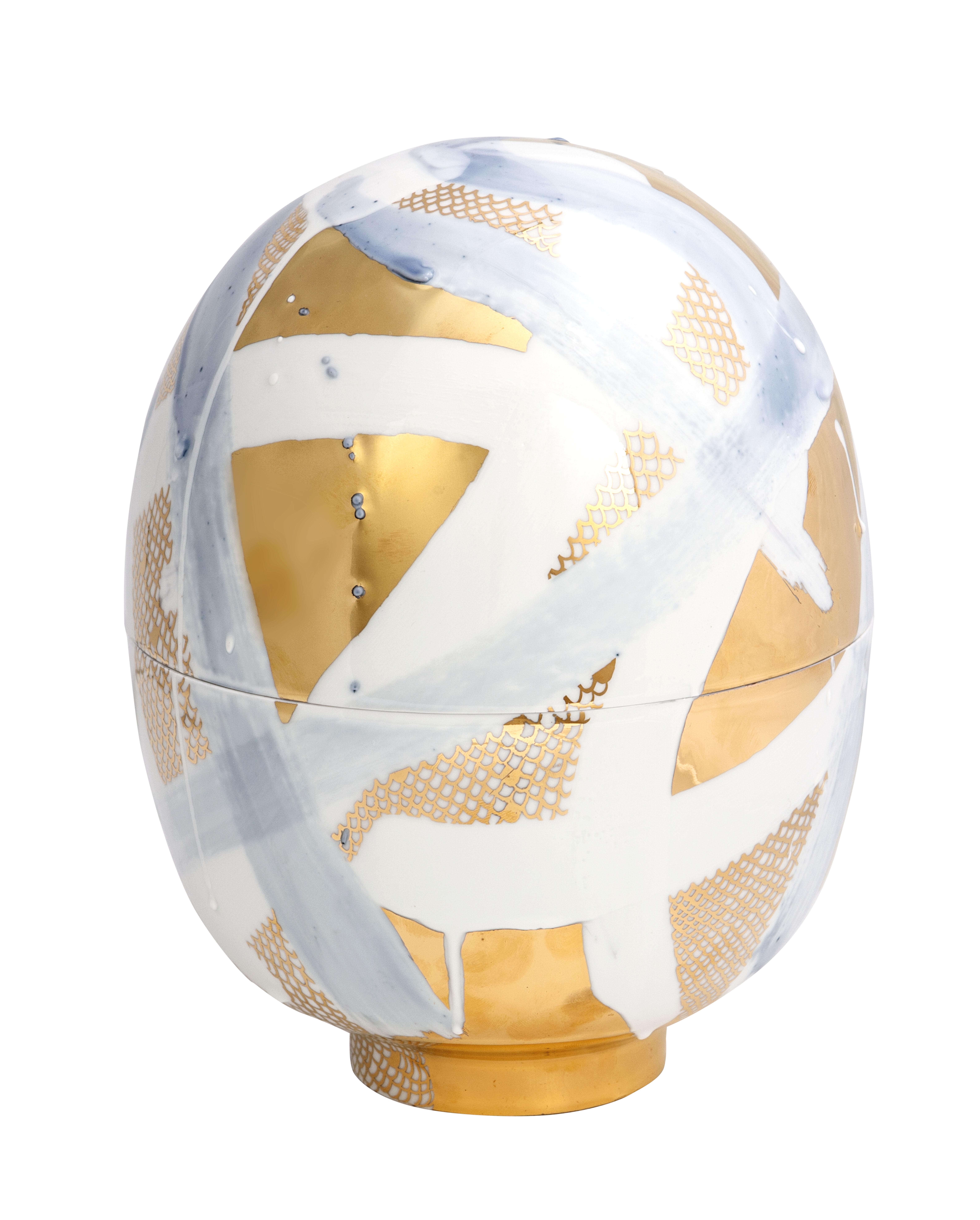 Egg Vessel Blue and Gold Meissen