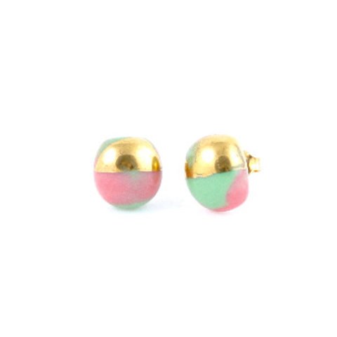 La Traviata Earrings green, pink and gold