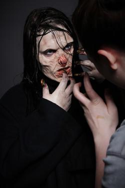 Posing Demon Makeup for Photoshoot