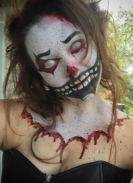special effects makeup. special makeup effects. prosthetic makeup. clown. face paint. body paint. creepy clown.