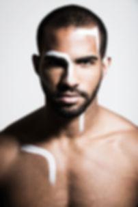 Avant garde. Male grooming. Male model. Body painting. Face painting. Avant Garde makeup