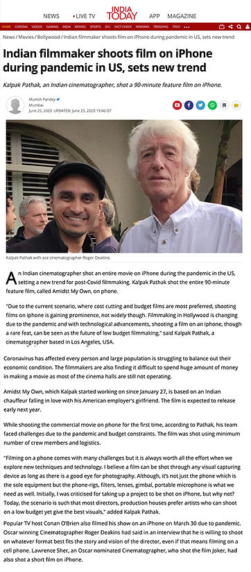 kalpak pathak , indian , cinematographer, roger deakins, pandemic shoot , iphone, cinematographer, amidst my own, feature film on iphone