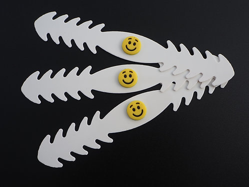 Lot de 3 attaches pour masque blanches, customisées Smiley