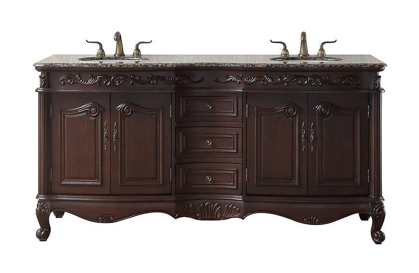 """72"""" Saturn Double Sink Vanity with Baltic Brown Granite Top"""