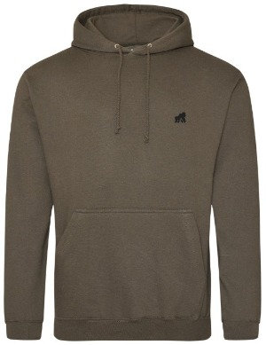 Olive / Khaki  adult hoodie with black logo