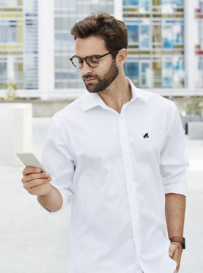 white men's poplin style shirt with a black logo