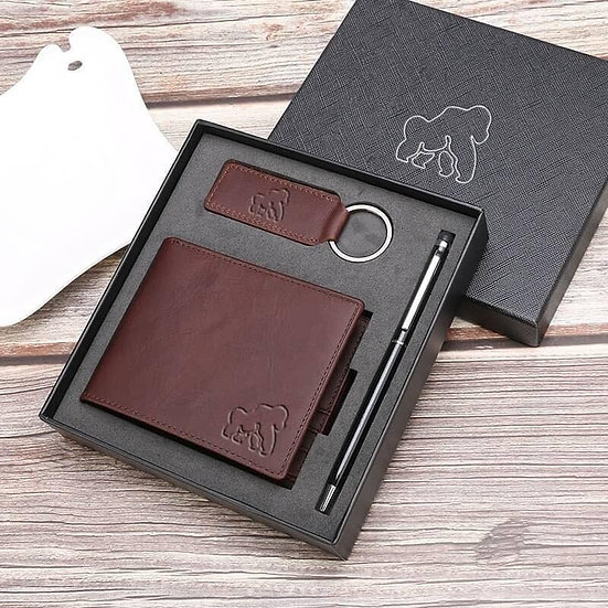 brown wallet gift set in gift box