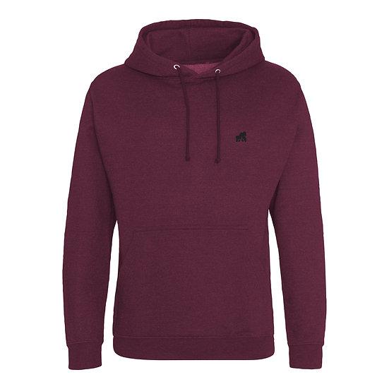 kids burgundy hoodie with a black logo