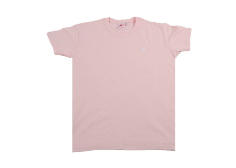 adult baby pink crew neck t-shirt with a white logo