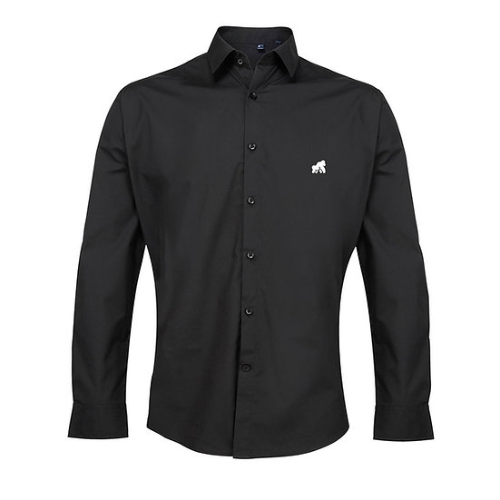 men's black poplin style shirt with a white logo
