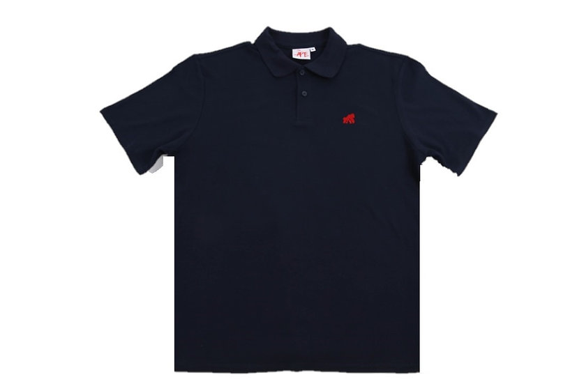 adult polo t-shirt navy with a red logo