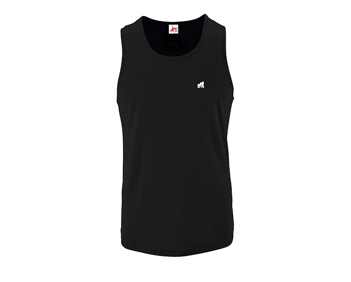 black fitted men's vest with a white logo