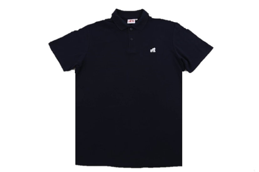 adult navy polo t-shirt with a white logo