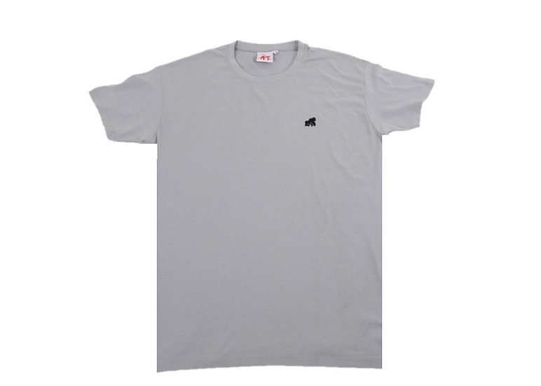 adult grey crew neck t-shirt with a black logo