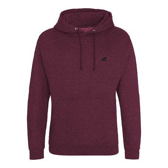 burgundy adult hoodie with a black logo
