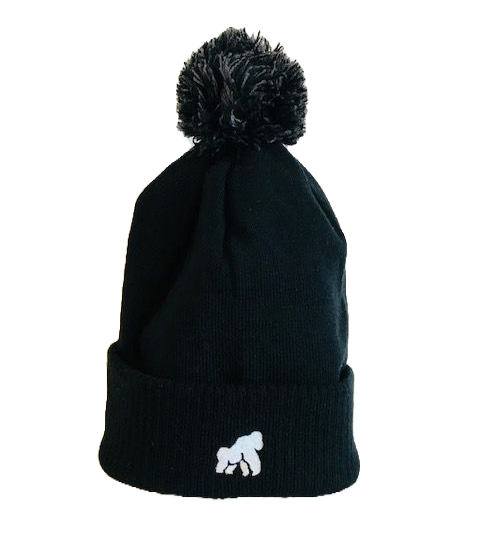 black adult winter hat with a white logo in centre