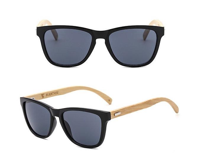 dark grey lens with bamboo style legs sunglasses