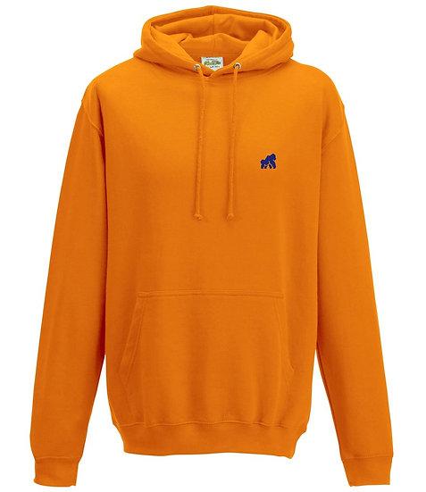 Orange adult hoodie with blue logo