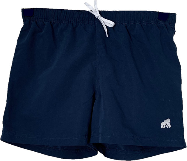 navy men's swimming shorts with a white logo