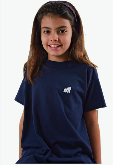navy kids t-shirt with a white logo in model