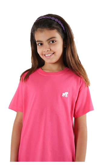 kids bright pink t-shirt with white logo on model