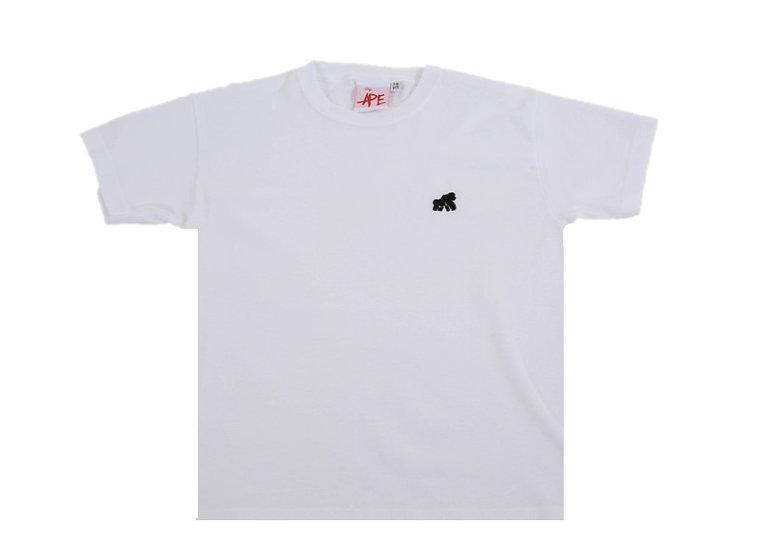 kids white t-shirt with a black logo