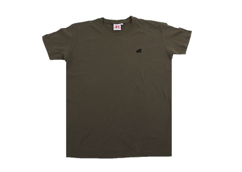 khaki adult crew neck t-shirt with a black logo