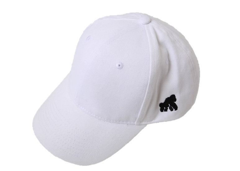 white adult hat with a black logo