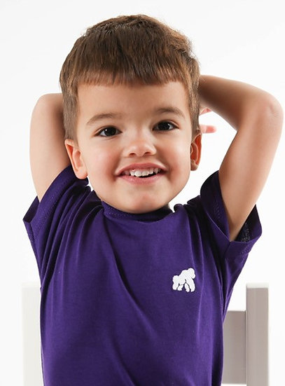 purple kids t-shirt with a white logo in model