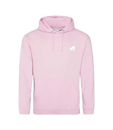 pink adult hoodie with a white logo