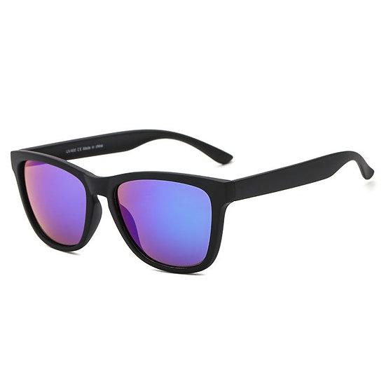 black sunglasses with a purple/blue colour lens