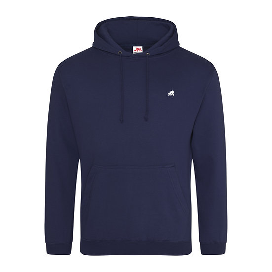navy kids hoodie with a white logo