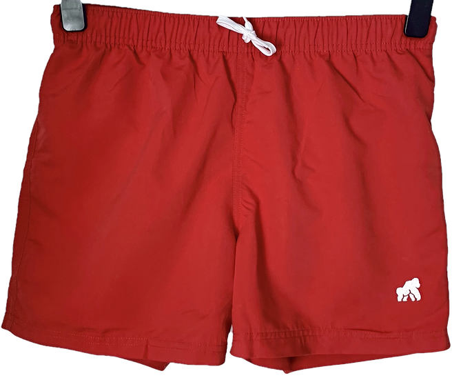 red men's swimming shorts with a white logo
