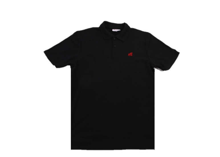 adult black polo t-shirt with a red logo