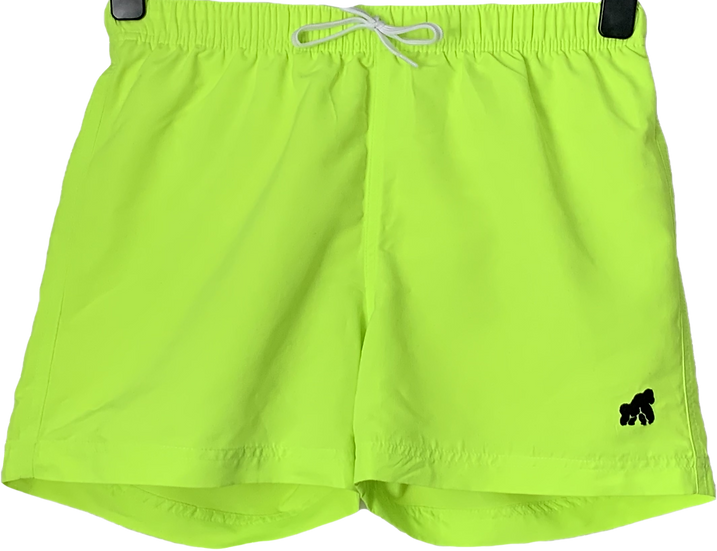 men's florescent yellow swimming shorts with a black logo