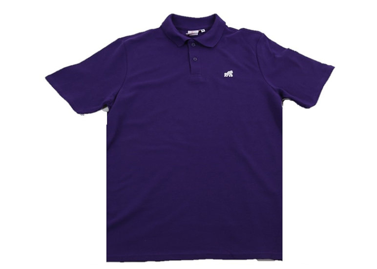 purple adult polo t-shirt with a white logo