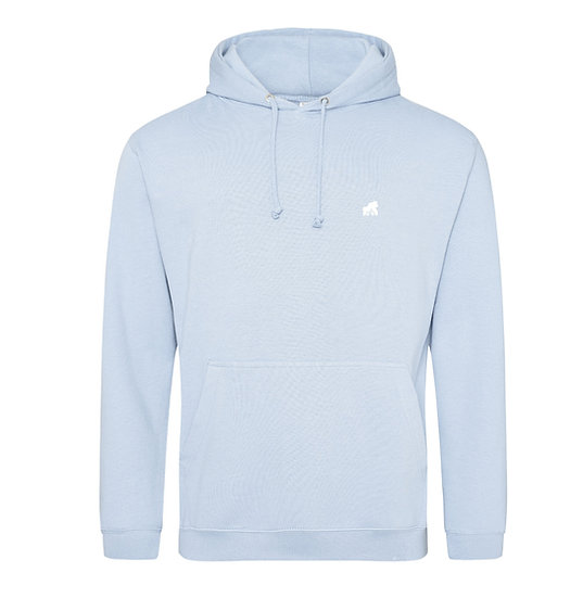 baby blue adult  hoodie with a white logo