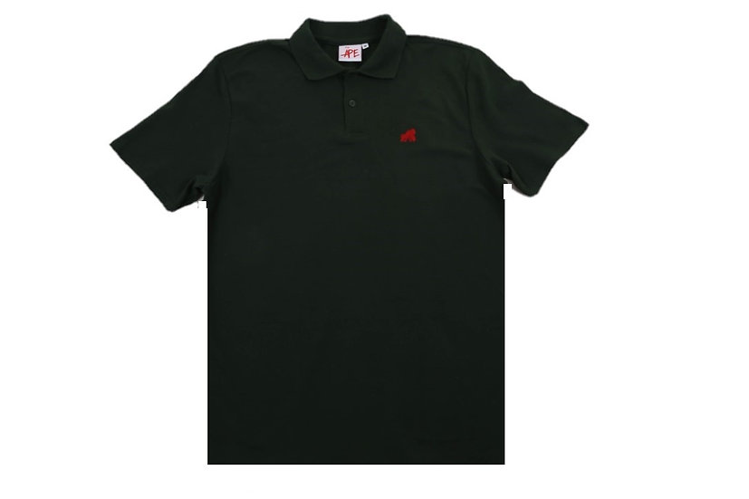 Forest green polo t-shirt with a red logo