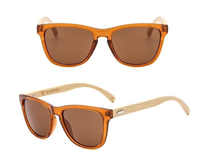 brown/orange lens bamboo style sunglasses