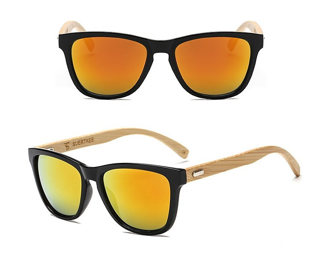 bamboo style sunglasses with a yellow/orange lens