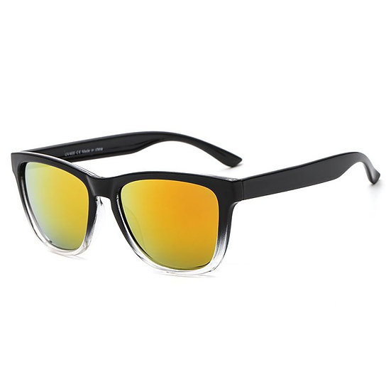 black and white sunglasses with a yellow/orange lens