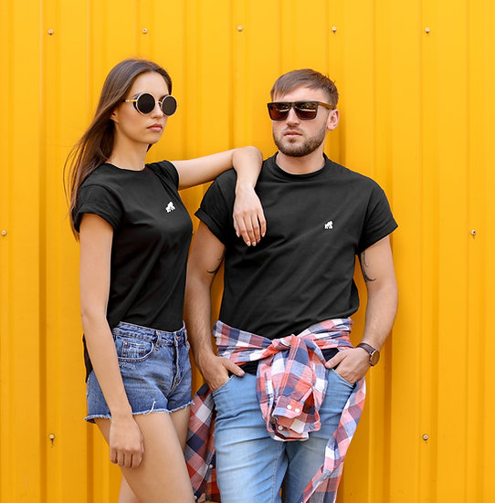 models in  black crew neck t-shirts with a white logo