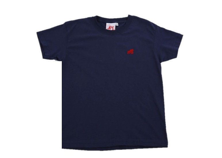 navy kids t-shirt with a red logo