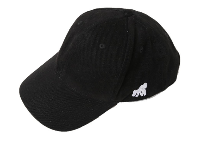 black adult cap with a white logo